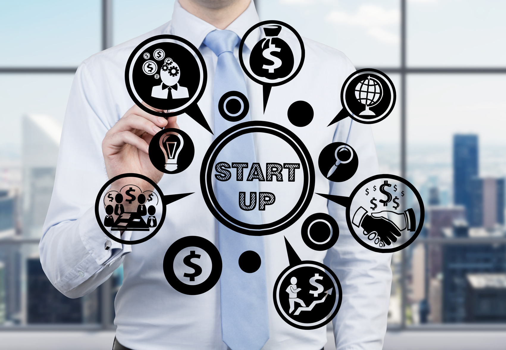 young businessman drawing business start up